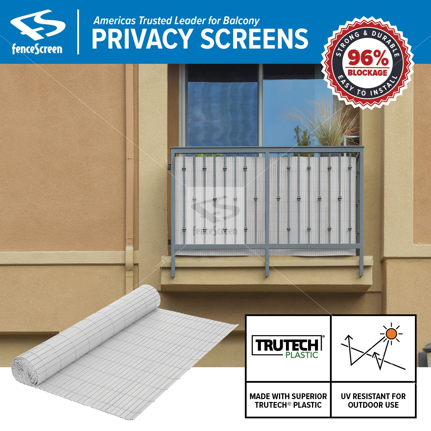 Fenpro Balcony Privacy Screen PVC Slat Roll for Apartment Balcony Privacy Screen (White)