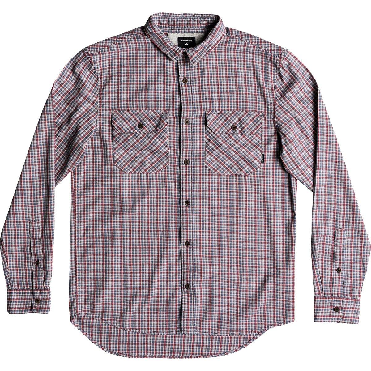 Quiksilver Men's Fuji View Button Down Flannel Shirt, Irongate Fuji View, M