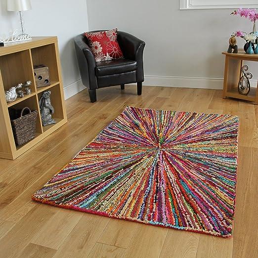 The Rug House Alfombra Colores Vivos con diseño Abstracto 100 ...