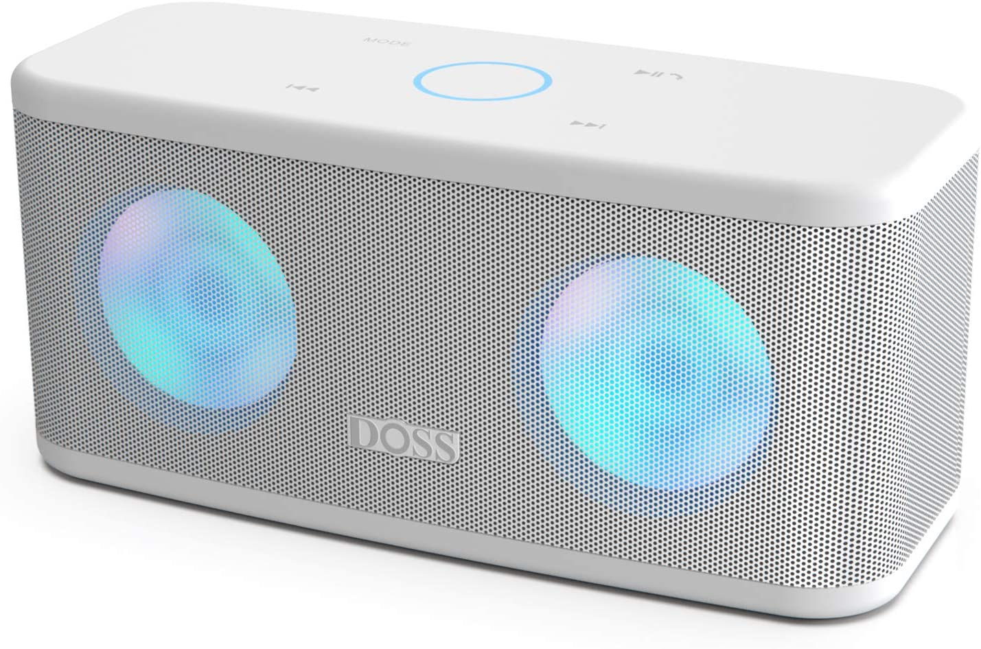 DOSS SoundBox Plus Portable Wireless Bluetooth Speaker with HD Sound and Deep Bass, Wireless Stereo Pairing, Built-in Mic, 20H Playtime, Portable Wireless Speaker for Home, Outdoor, Travel-White