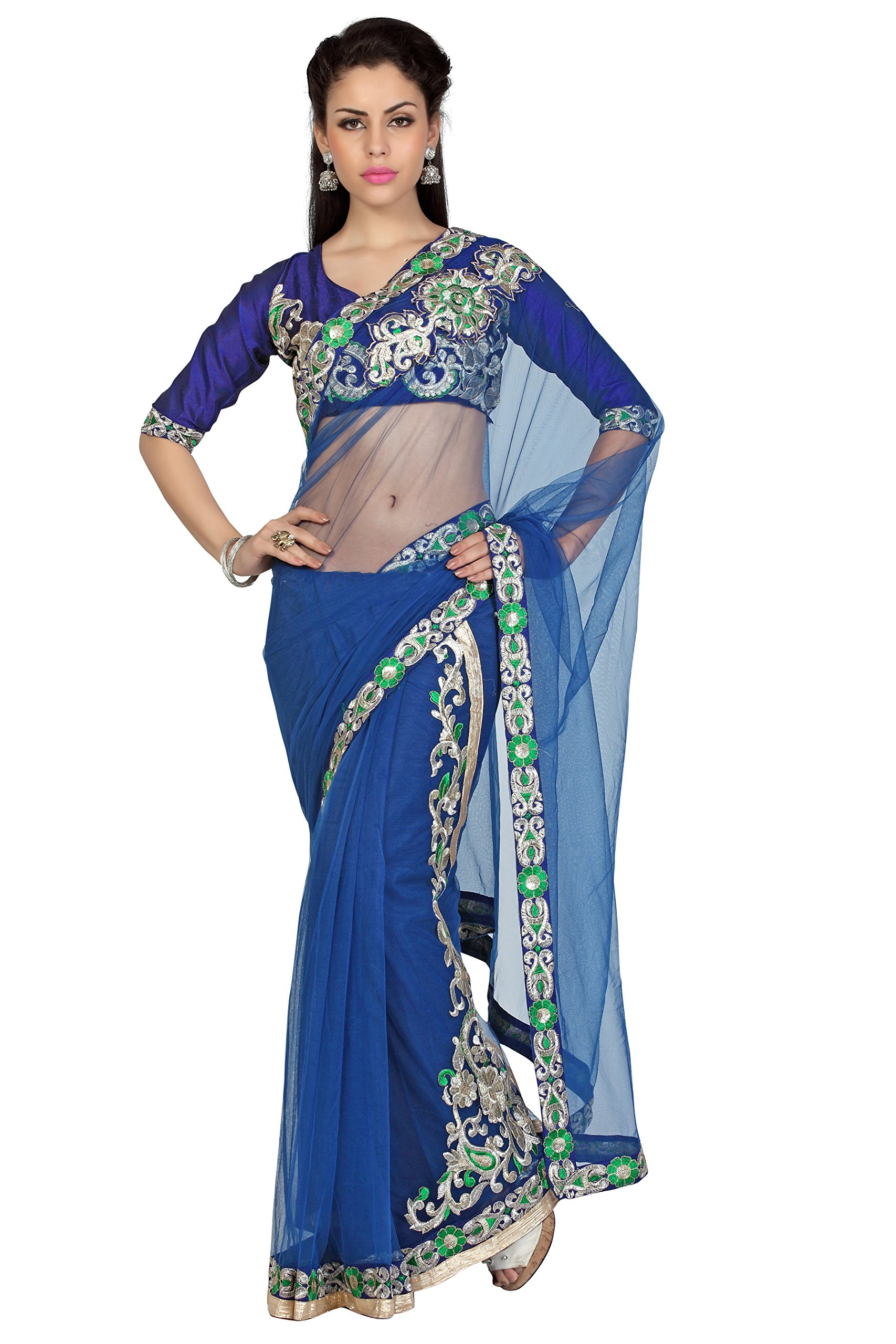 Bollywood Women's Indian Ethnic Designer Navy Blue Color Net Party Wedding Sari With Saree Blouse Unstitched