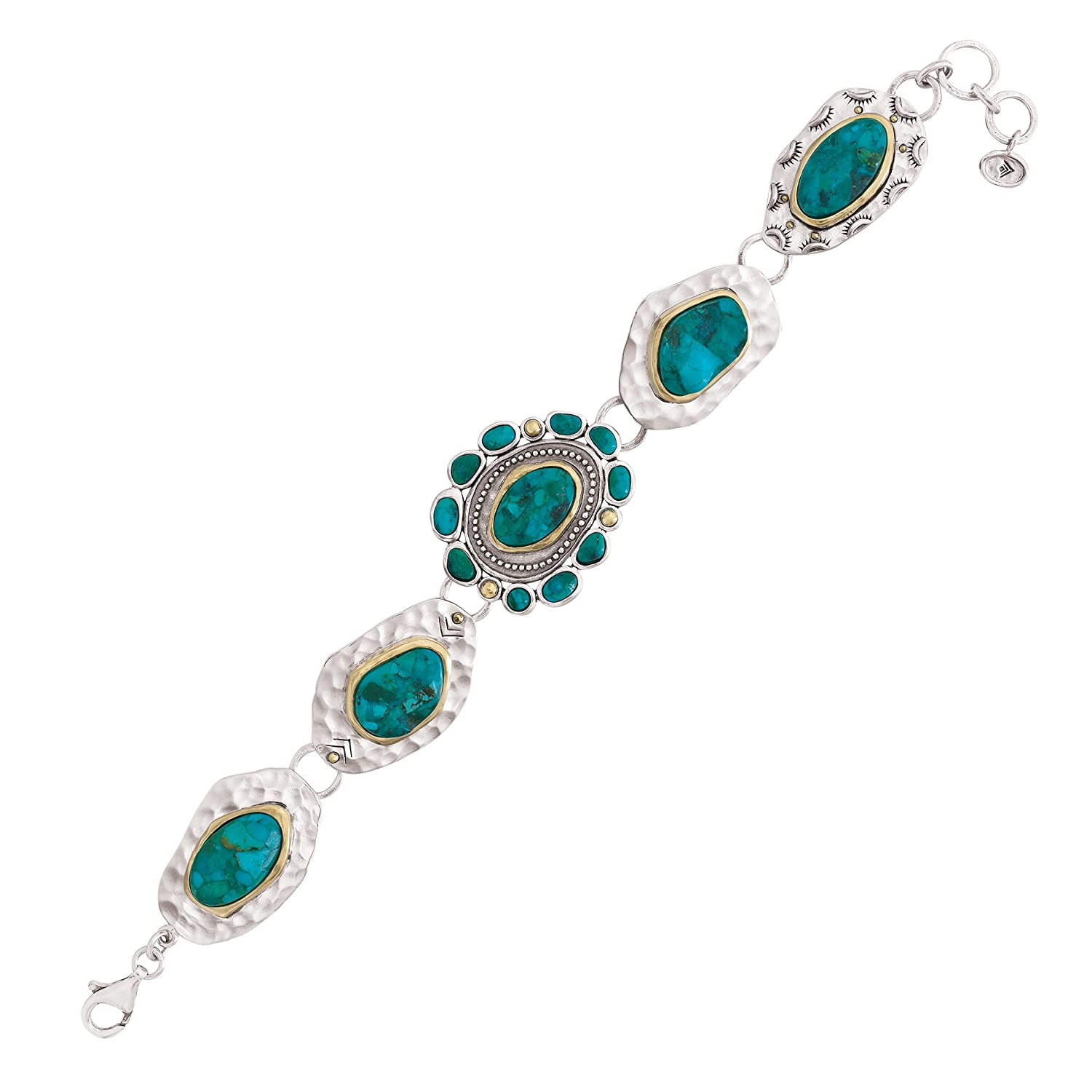 Silpada 'Santa Fe' Sterling Silver, Brass, and Turquoise Bracelet, 8""