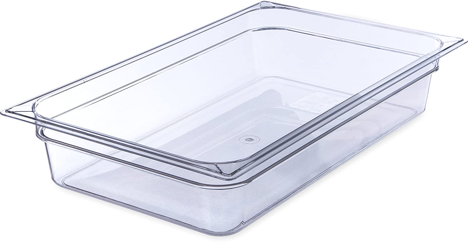 "Carlisle 10201B07 StorPlus Full Size Polycarbonate Food Pan, 4"" Deep, Clear"