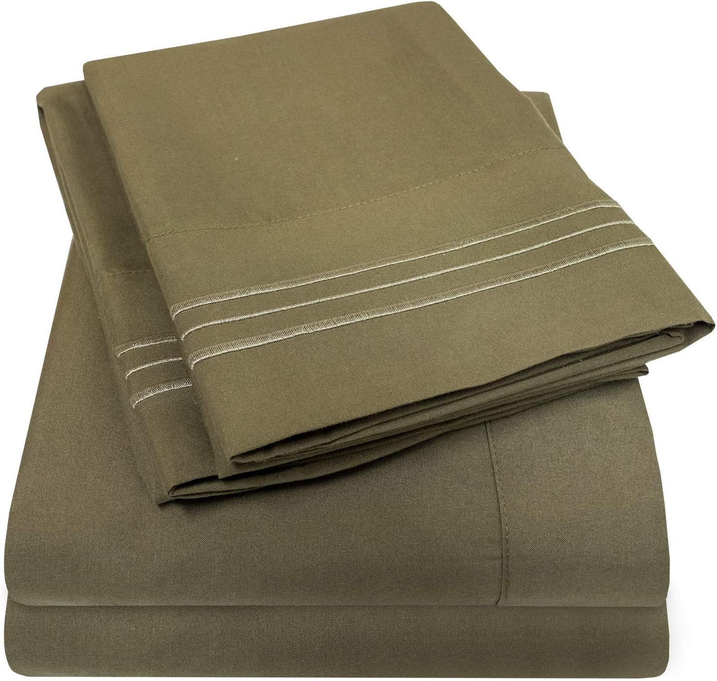 1500 Supreme Collection Bed Sheets Set - Luxury Hotel Style 4 Piece Extra Soft Sheet Set - Deep Pocket Wrinkle Free Hypoallergenic Bedding - Over 40+ Colors - Full, Olive