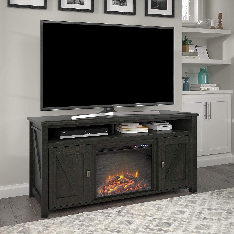 "Ameriwood Home Farmington Electric Fireplace Console 60"", Black Oak TV Stand"