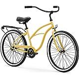 "sixthreezero Around The Block Women's Single-Speed Beach Cruiser Bicycle, 26"" Wheels, Cream with Black Seat and Grips"