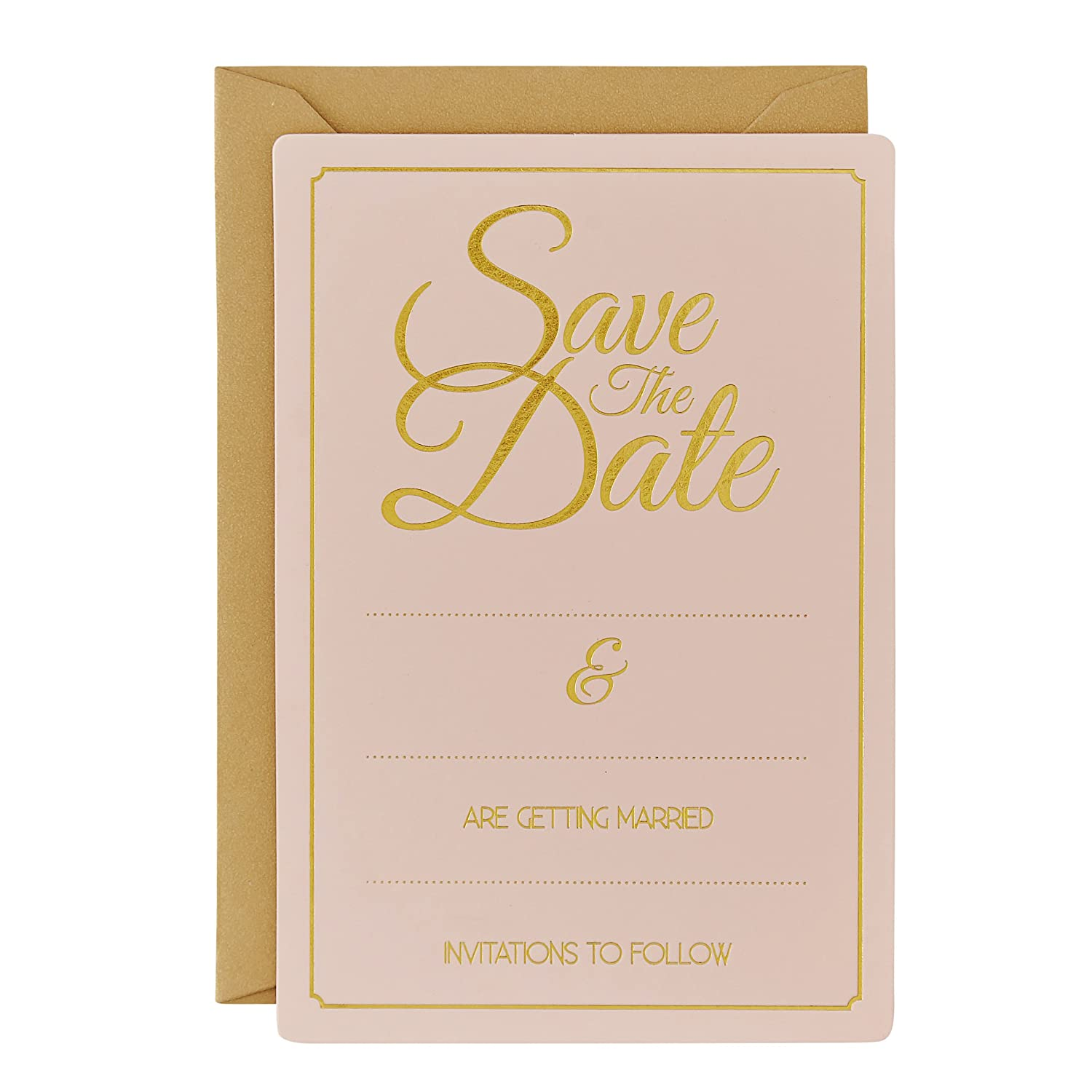 Amazon.com: Ginger Ray Pastel & Gold Foiled Save The Date Wedding ...