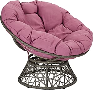 OSP Home Furnishings Papasan Chair with 360-degree Swivel, Purple cushion and Grey Frame