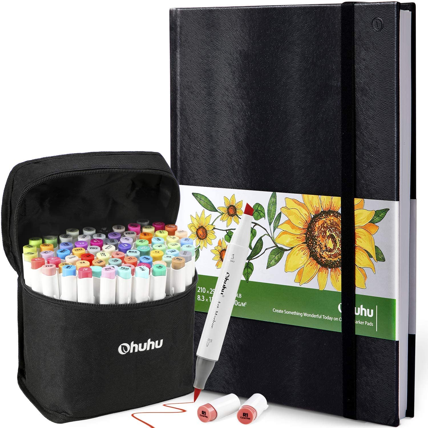 """Ohuhu 72 Colors Alcohol Brush Markers (Brush & Chisel, Bonus 1 Colorless Blender) + 11.7"""" ×8.3"""" Marker Pads Art Sketchbook, 120LB/200GSM Heavy Smooth Drawing Papers, 78 Sheets/156 Pages"""