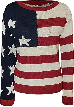 WearAll - Damen USA Sternenbanner Muster Langarm Gestrickt Pullover ...