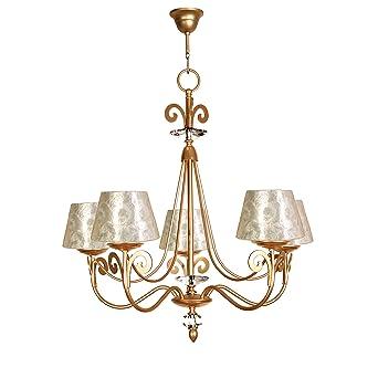 Lámpara de techo de 5 luces acabado oro con pantalla con ...