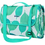 SONGMICS Picnic Blanket for Outdoor Use Washable with Pattern Foldable with Shoulder Strap for Children Camping Blanket Moisture-resistant Light Heat-resistant GCM80JW
