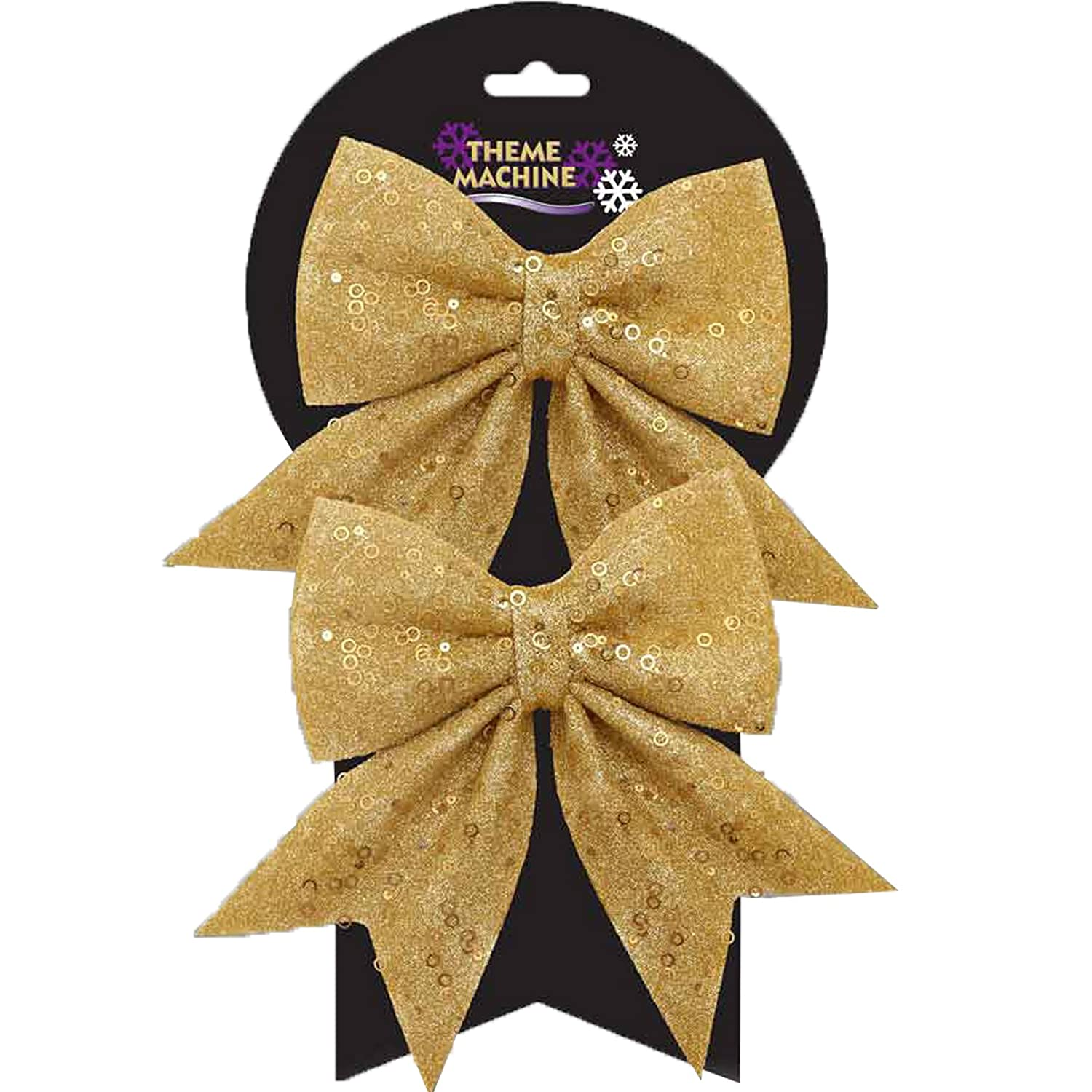 Christmas Tree Decoration 2 Pack 16cm Glitter & Sequin Bows - Gold Davies Products