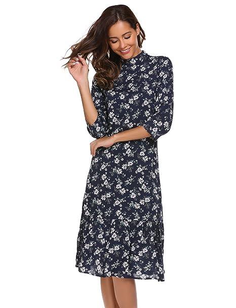 19c8bd0d94ad58 Damen Blumen Kleider Druckkleid Casual Herbst 3/4 Arm Swing Kleid Knielang  Cocktail: Amazon.de: Bekleidung