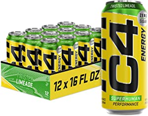 Cellucor C4 Original Carbonated Zero Sugar Energy Drink, Pre Workout Drink + Beta Alanine, Sparkling Twisted Limeade, 16 Fluid Ounce Cans (Pack of 12)