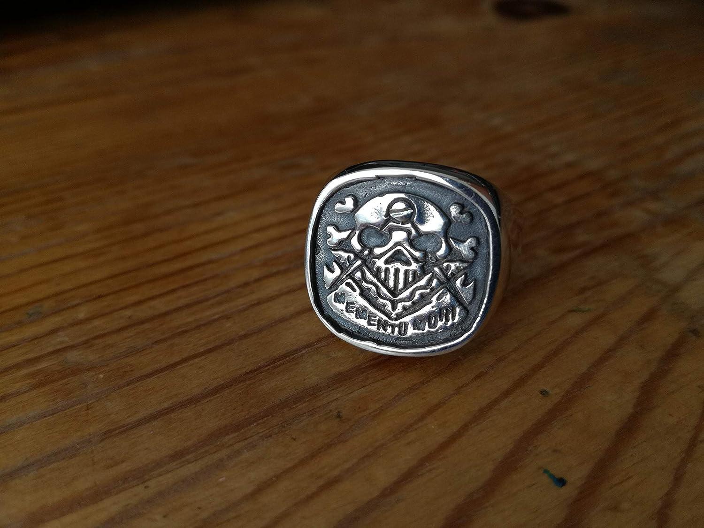 masonic rings skull rings Yellow Gold Silver White Gold Square and Compass Masonic ring Memento Mori Any Sizes memento mori