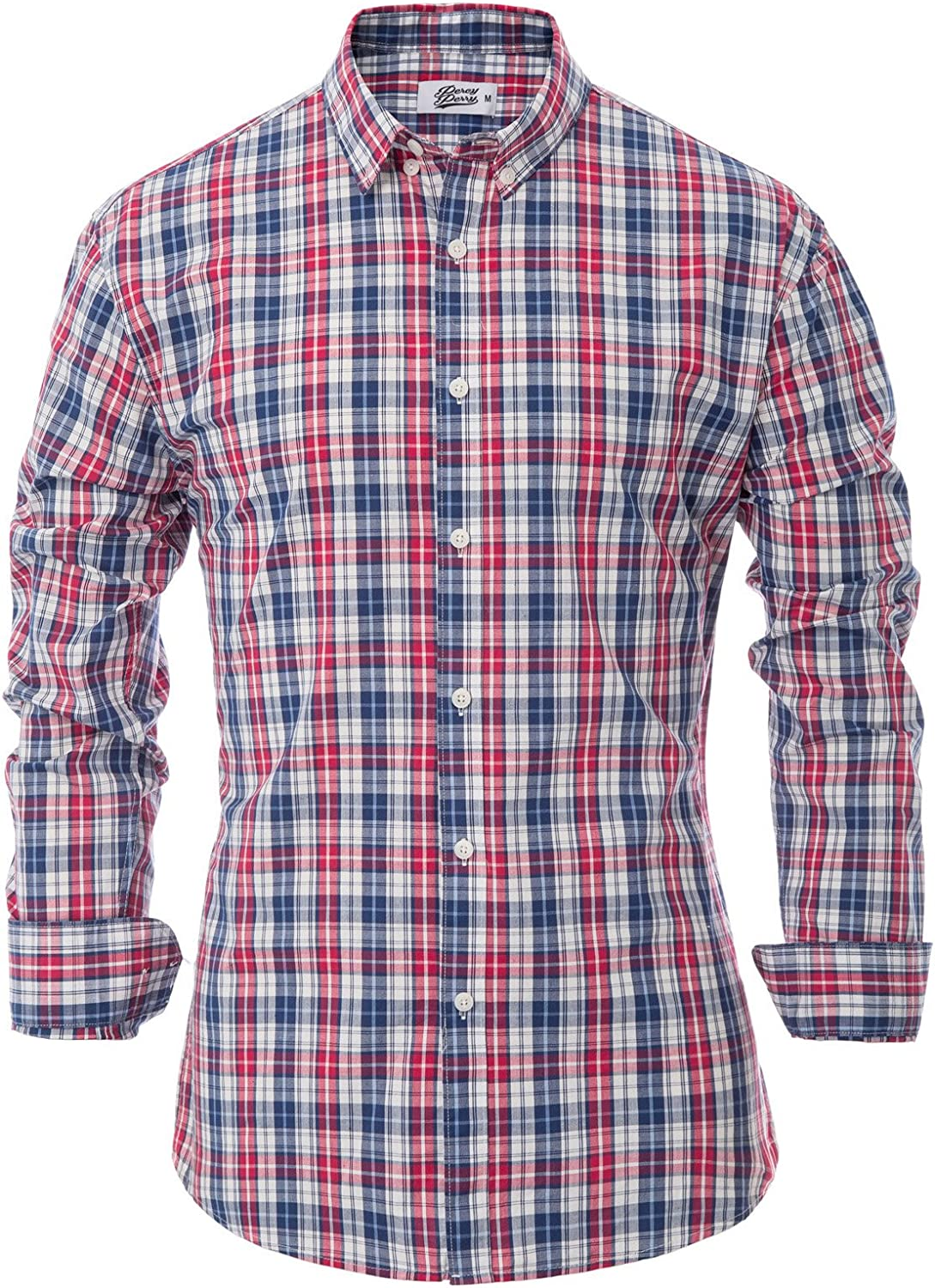 Percy Perry Mens Slim Fit Grid Long Sleeve Ironing Free Button Collar Shirt