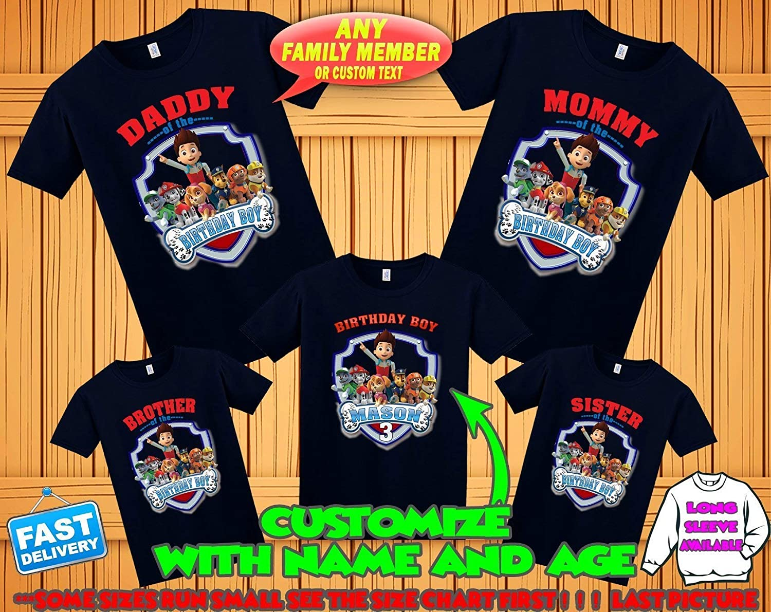 Amazon Paw Patrol Birthday Shirt Custom Tshirt Party Shirts Family Matching