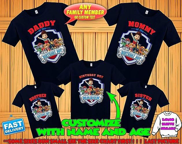Amazon Paw Patrol Birthday Shirt Custom Tshirt Party Shirts Family Matching T