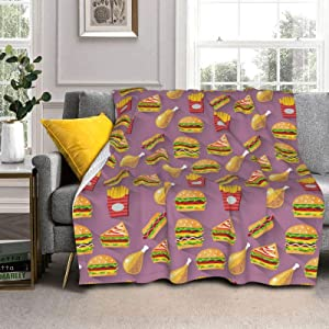 Adult Women Men Extra Soft Blankets Junk Food Sandwich Chips Chicken Hamburger Super Warm Throw Blanket Large Throw Wearable Cuddle Camping Blanket