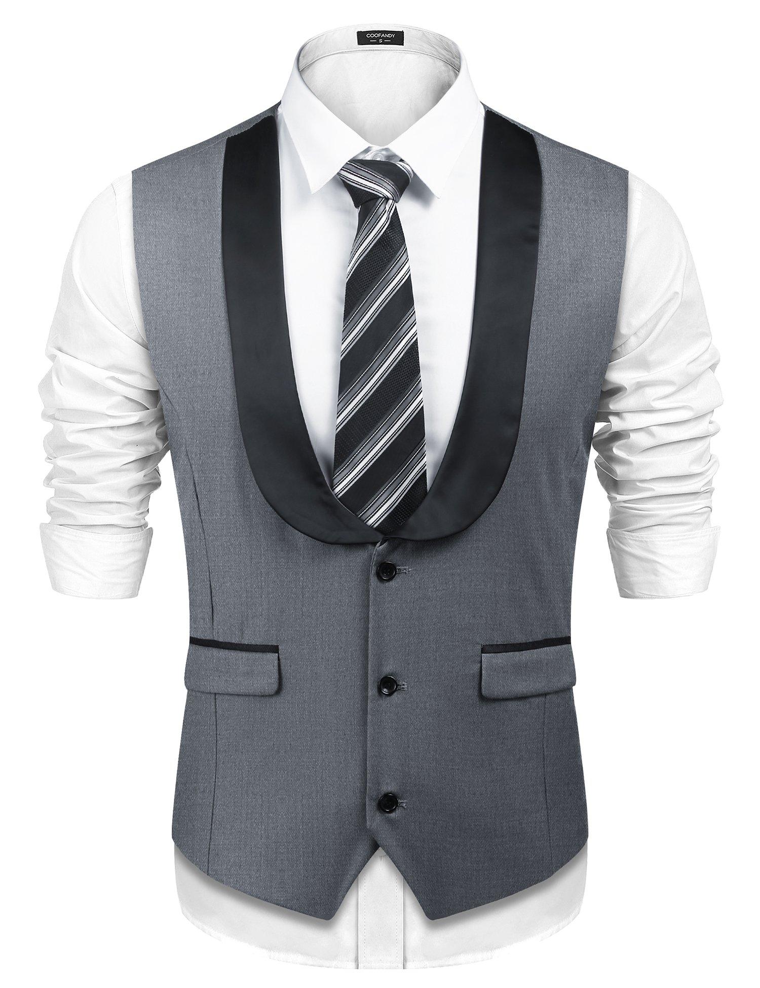 COOFANDY Mens Business Dress Suit Button Down Wedding Vest Waistcoat,Gray,X-Large