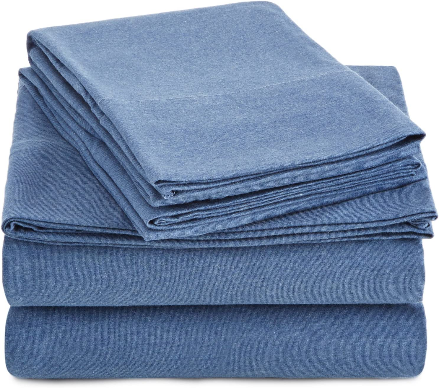 AmazonBasics Heather Cotton Jersey Bed Sheet Set - Queen, Chambray Blue