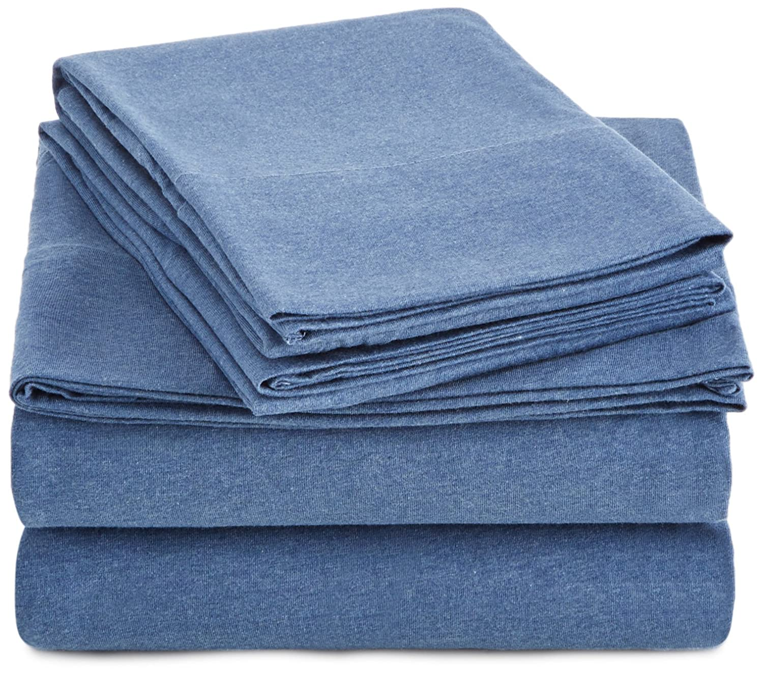 AmazonBasics Heather Jersey Sheet Set - Twin, Chambray JR-SS-CHABY-TW