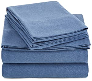 AmazonBasics Heather Jersey Sheet Set - Twin, Chambray