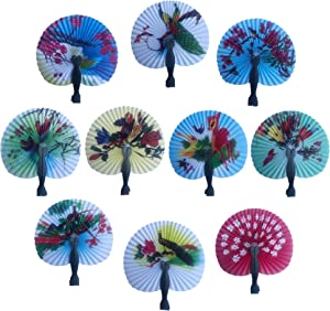 "Bestage 30 Pack 3.5"" Mini Chinese Oriental Handheld Floral Folding Paper Fans Assortment for Wedding Birthday Party Favors Kids Toys Gifts(Black Handle)"