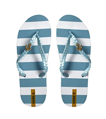 7e3e7a3a5 Peach Couture Womens Striped Nautical Anchor Strappy Sandals Flats Flip  Flops Sky Blue 5 B(