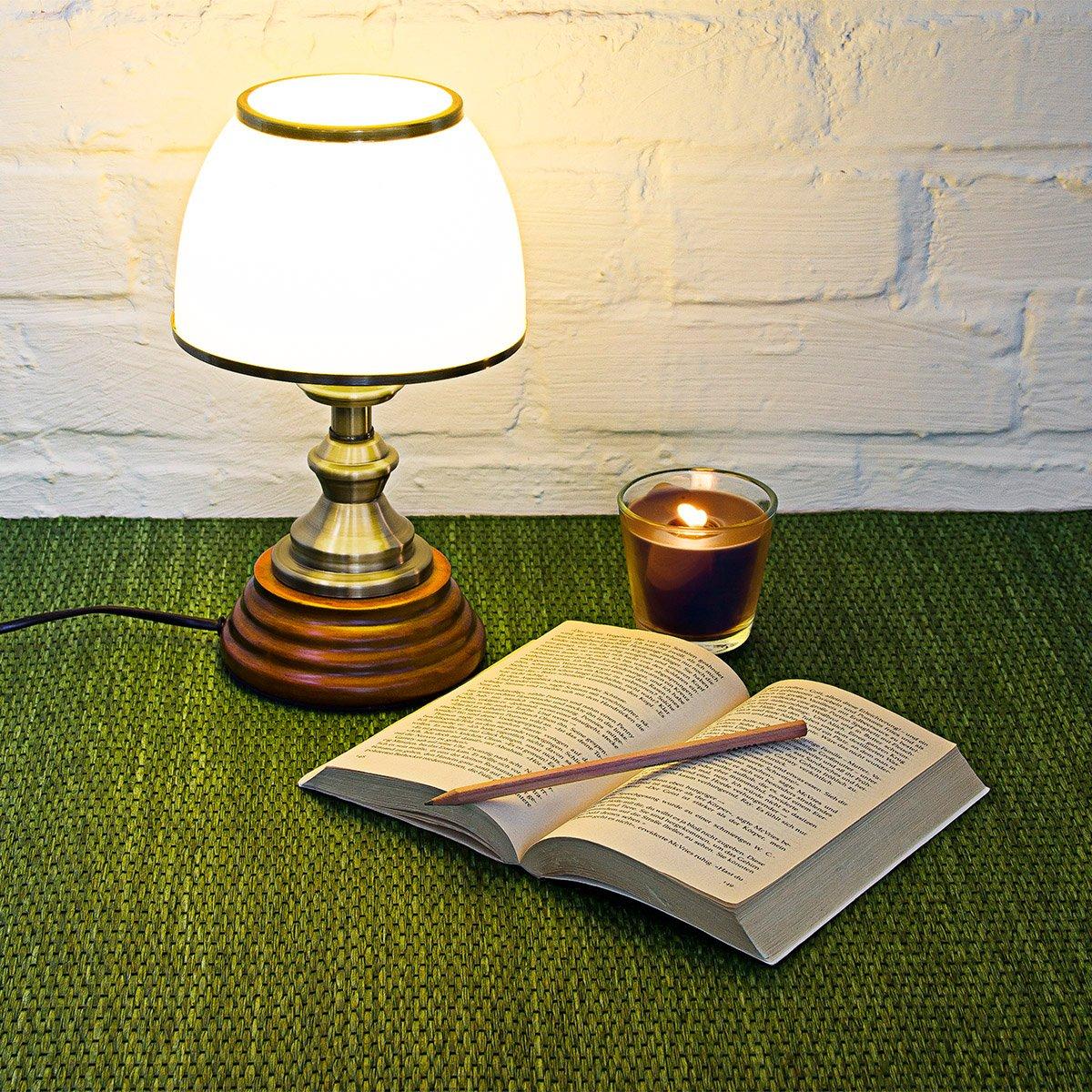 Lettura Luce Soffusa Luce Calda Comodino Relaxdays Lampada da Scrivania Vetro Bianco