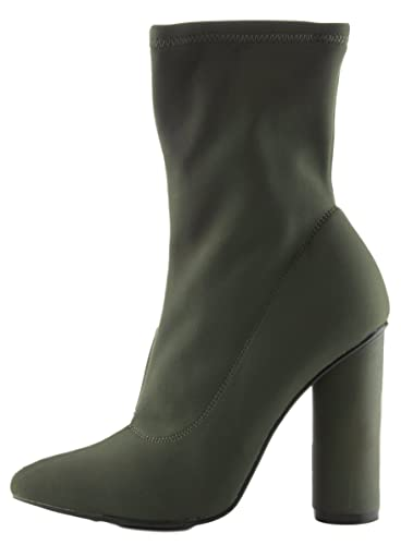 Women's Pointy Toe Lycra Elastic Pull on Ankle Bootie Heel Boot
