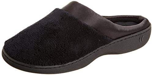 Isotoner Women s Signature Microterry PillowStep Satin Cuff Clog Slippers e5ddb26ba