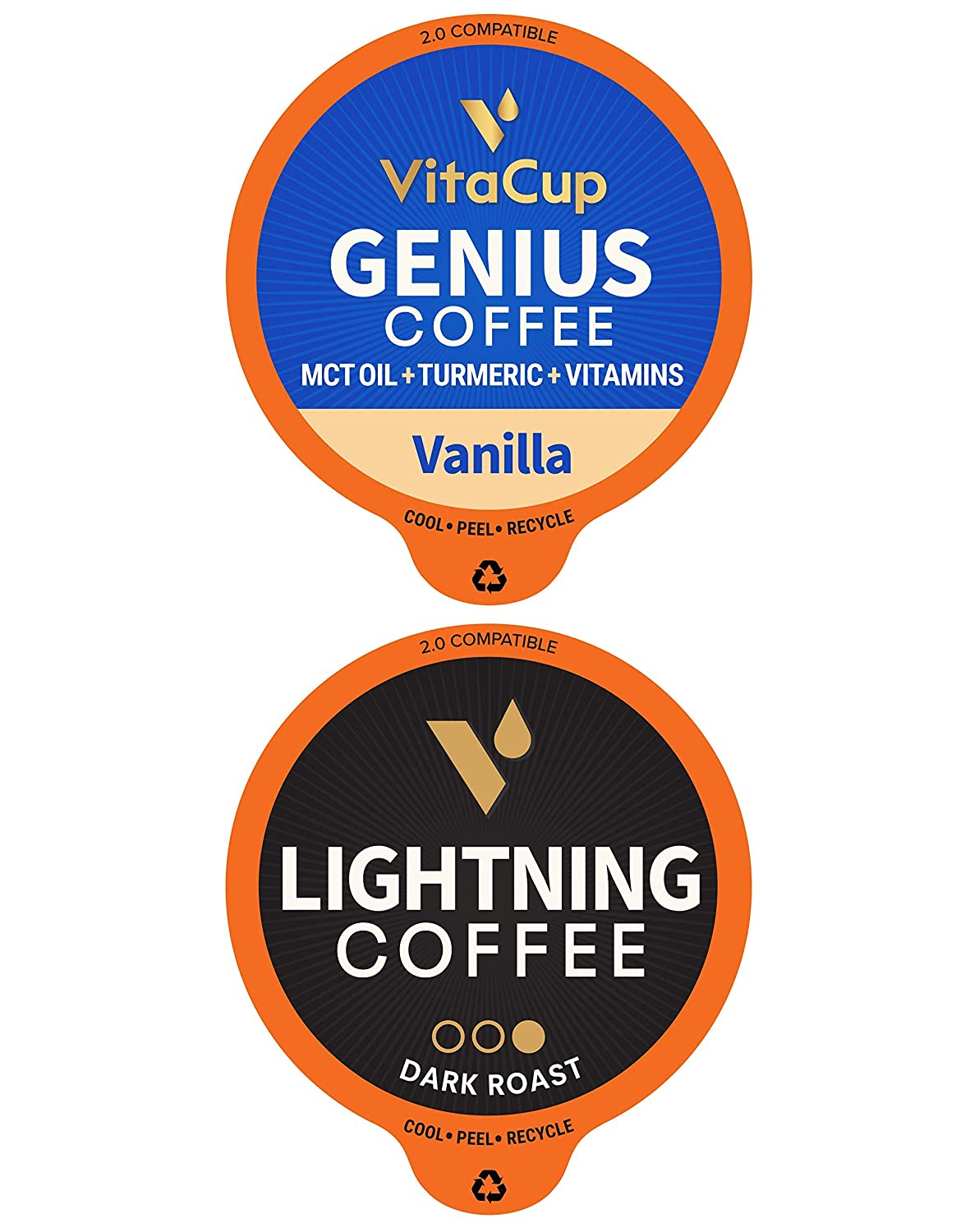 VitaCup Coffee Pod Genius Vanilla & Lightning 32ct. Bundle Vitamin infused Recyclable Single Serve Pods Compatible with K-Cup Brewers Including Keurig 2.0
