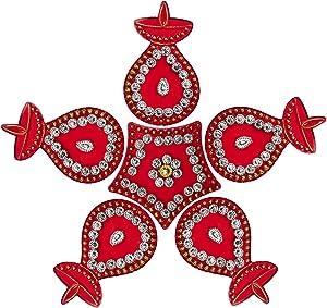 Aheli Exquisite Stone Studded Acrylic Rangoli Diwali Floor Decorations Indian Traditional Hindu Festive Home Office Door Decor