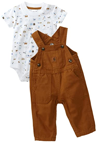 5f4e0acdb Amazon.com: Carhartt Baby Boys' Washed Bib Overall Set, Carhartt ...