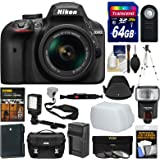 Nikon D3400 Digital SLR Camera & 18-55mm VR DX AF-P Lens (Black) + 64GB Card + Case + Flash + Video Light + Battery & Charger + Tripod + Filters Kit