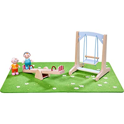 HABA Little Friends Playground Play Set with Swing, See-Saw, Meadow and Two Babies - Bendy Doll Accessory: Toys & Games