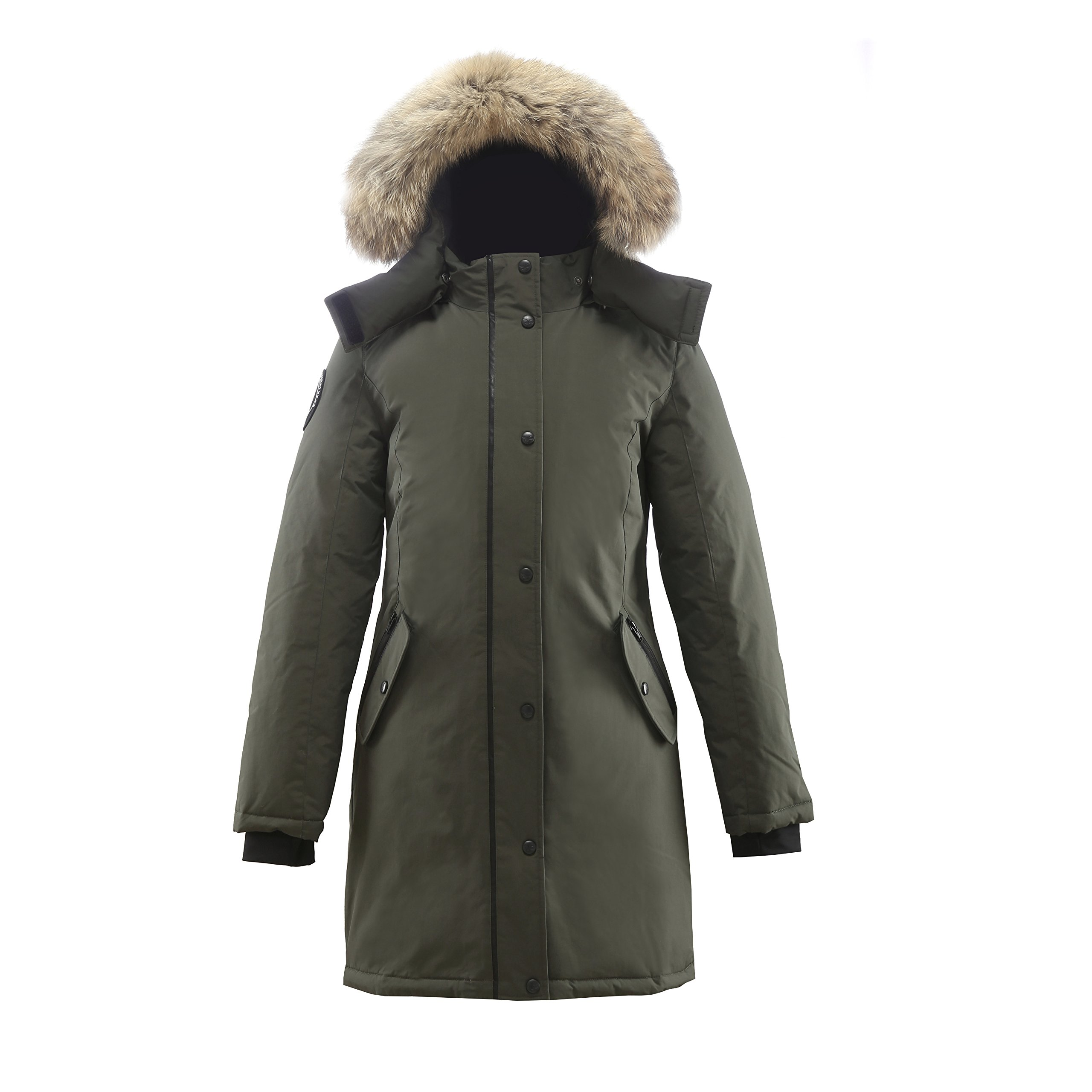 Triple F.A.T. Goose Alistair Womens Hooded Arctic Parka With Real Coyote Fur (Medium, Olive)