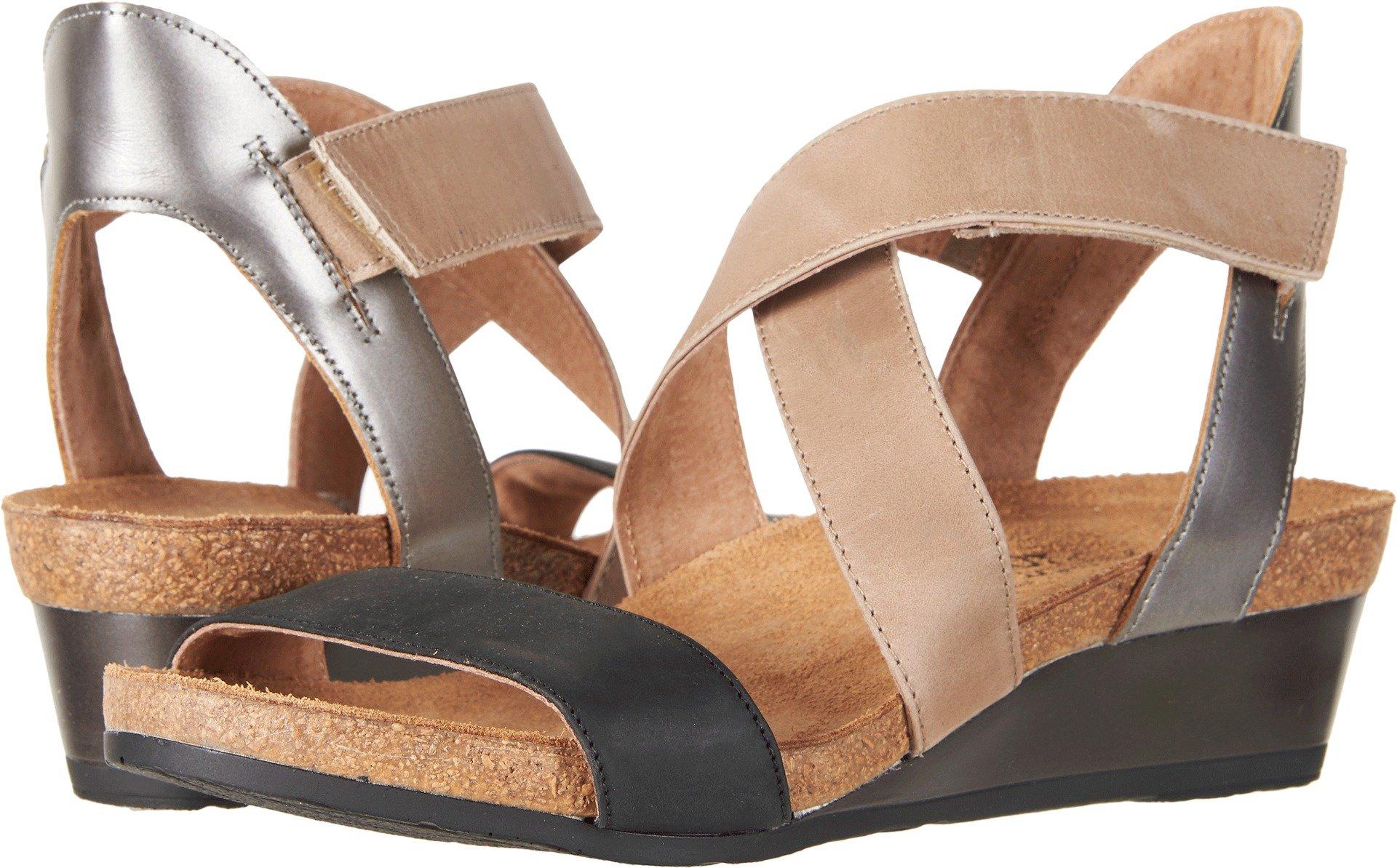 NAOT Women's Vixen Oily Coal Nubuck/Khaki/Beige Leather/Mirror Leather 37 M EU