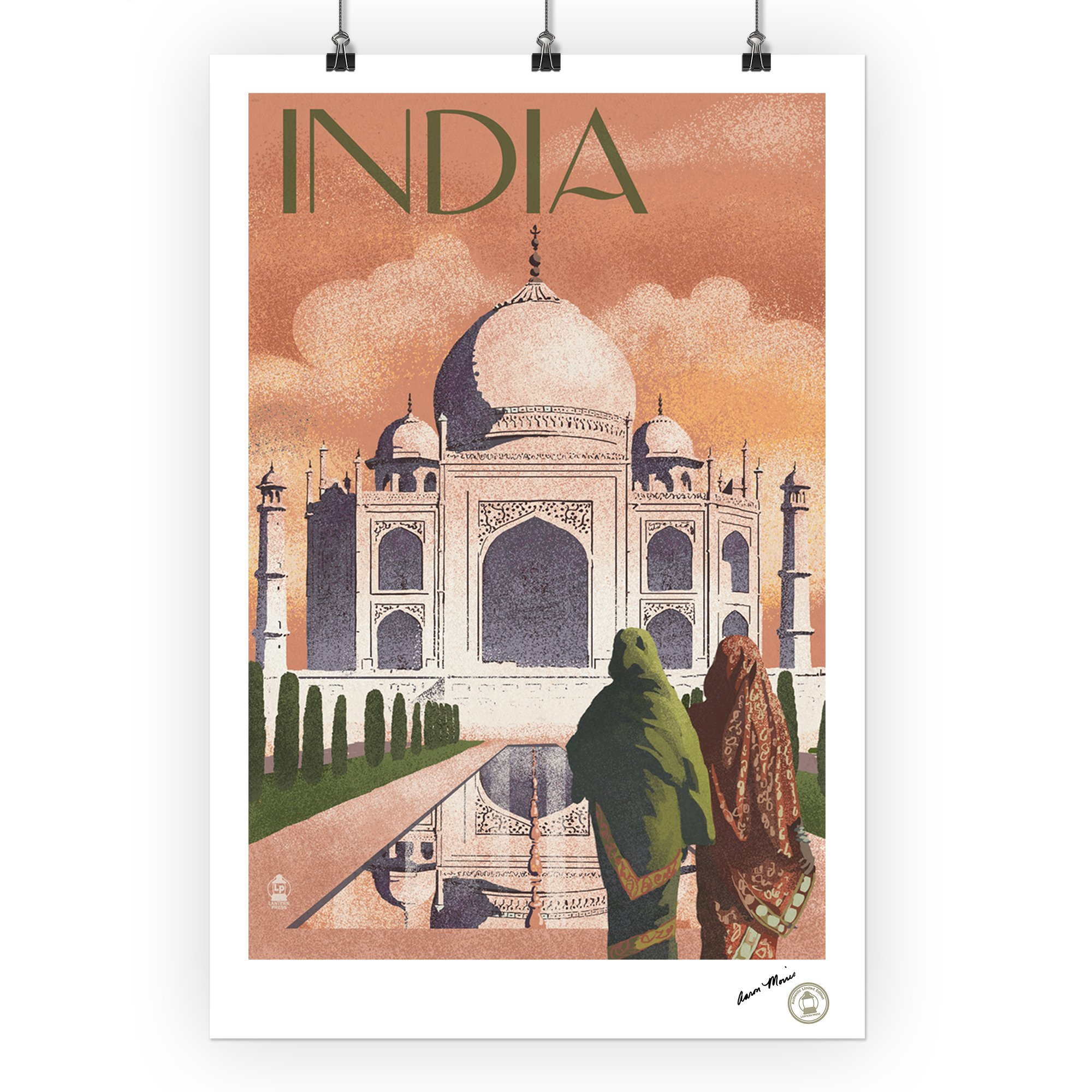 Taj Mahal, India - Lithograph Style (24x36 SIGNED Print Master Giclee Print w/ Certificate of Authenticity - Wall Decor Travel Poster) by Lantern Press (Image #3)
