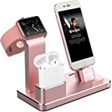 OLEBR Apple Watch Stand Aluminum Apple Watch Charging Stand AirPods Stand Charging Docks Holder for Apple Watch Series 3/2/1/ AirPods/ iPhone X/8/8Plus/7/7 Plus /6S /6S Plus/ iPad -Rose Gold