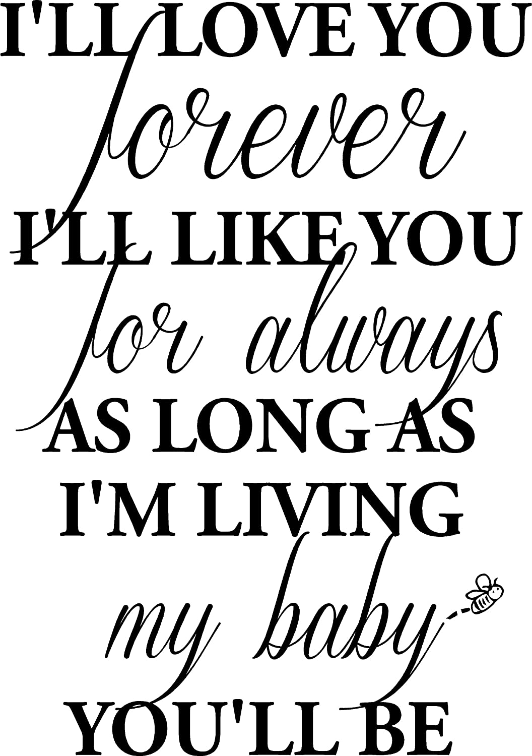 #1 I\'ll Love You Forever I\'ll Like You for Always as Long as I\'m Living My  Baby You\'ll be Wall Art Wall Sayings