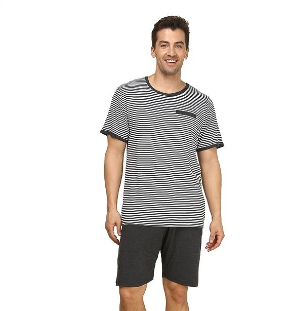 QianXiu Verano Pijama para Hombre Stripes Ropa de Noche de Las Rayas Camisa de Dormir Set