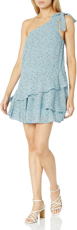 findersKEEPERS Womens Sleeveless One Shoulder Ruffle Tiered Hem Blossom Mini Dress