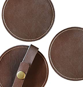 Classy Leather Drink Coasters - Best Stylish Bar Drinks Coaster Set for Modern House Warming Presents - Costers Furniture Accessories - Coaters Sets