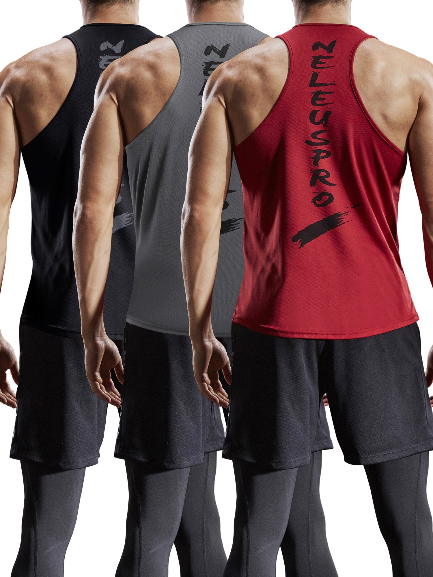 Neleus Men's 3 Pack Mesh Workout Muscle Tank Top,5007,Black,Dark Grey,Red,US XL,EU 2XL by Neleus