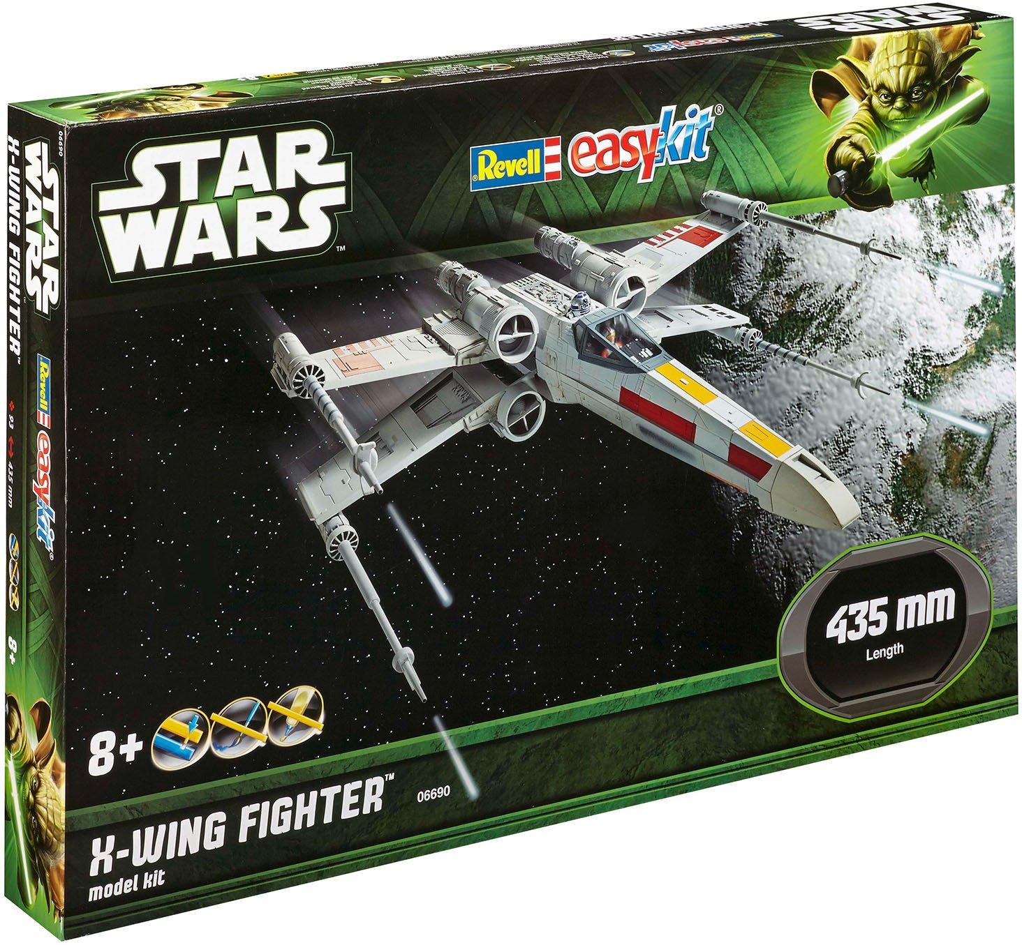 Revell 06690 Modellbausatz Star Wars X-Wing Fighter im Maßstab 1:29, Level 2, originalgetreue Nachbildung mit vielen Details, Steckmechanismus, mit vorbemalten und vordekorierten Teilen Revell_06690