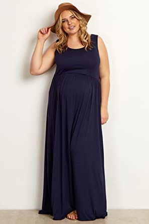 PinkBlush Maternity Navy Blue Basic Plus Size Maxi Dress, 2X at ...