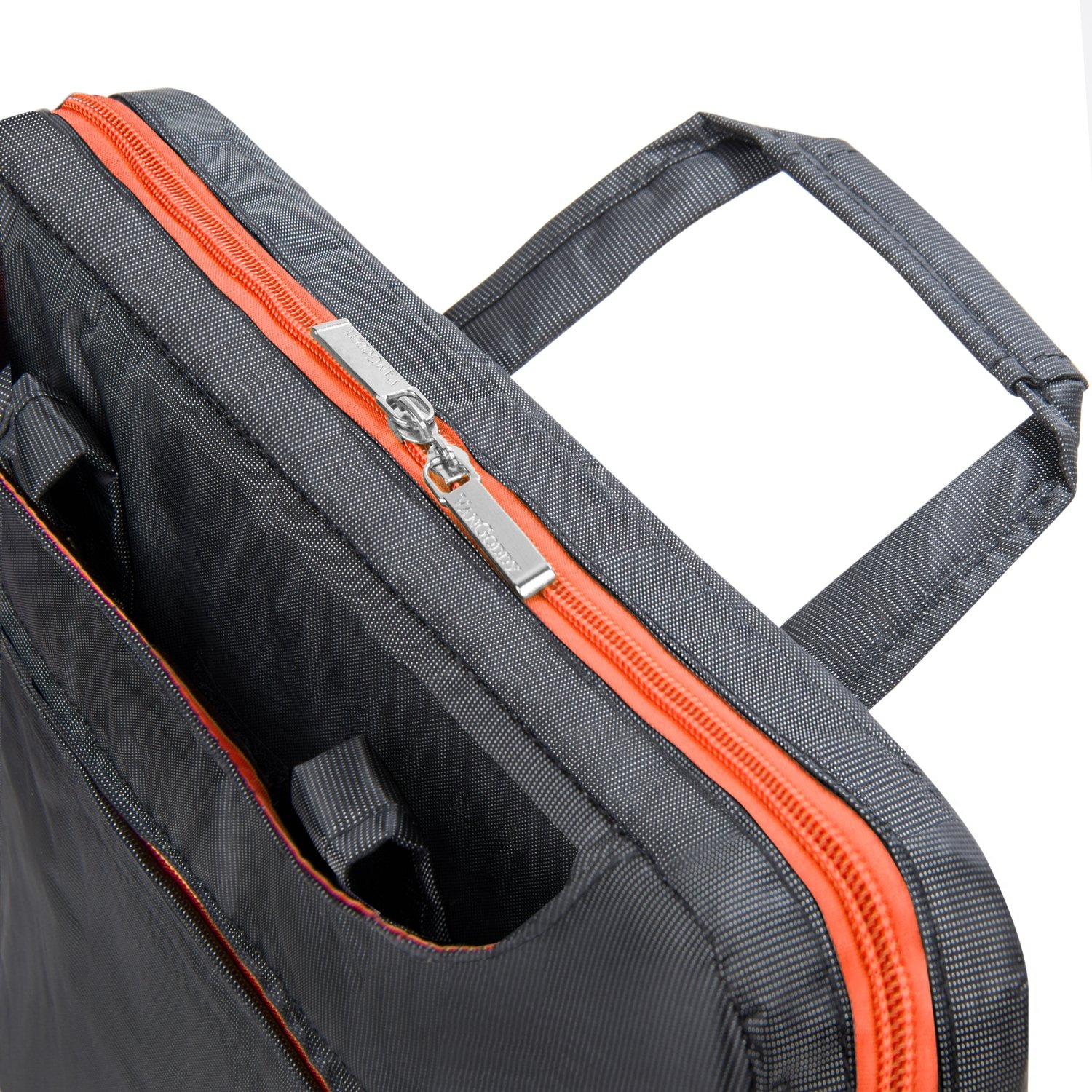 VanGoddy NineO 15 3-in-1 Water Resistant Nylon Messenger Shoulder Bag Briefcase (Gray/Orange) for Dell Inspiron 14 15 / Latitude 14 15 / Precision Mobile Workstation/XPS 15 Series 14'' 15.6'' Laptop by Vangoddy (Image #3)
